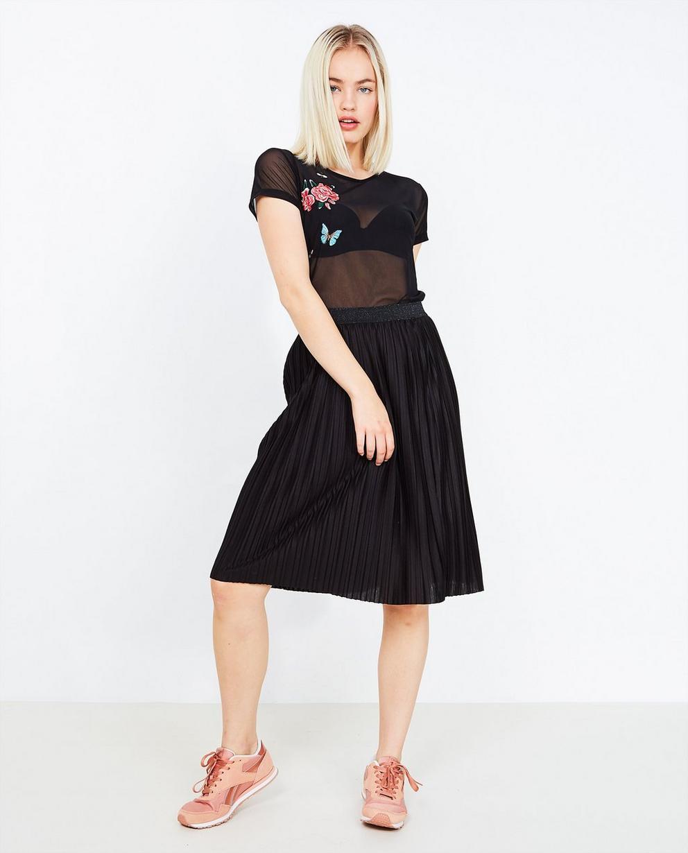 Zwarte plissé rok - halflang model - Grogy